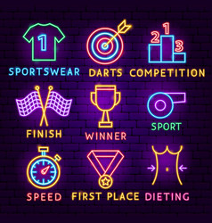 sport neon label set vector image