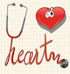 Stethoscope and heart on graph paper vector