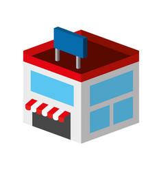 Store building isometric icon vector
