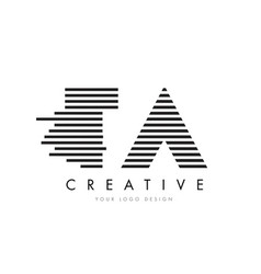 Ta t a zebra letter logo design with black and vector