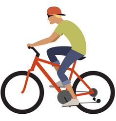 Teenager boy cycling icon young cyclist vector