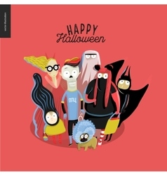 Trick or treat group of children vector