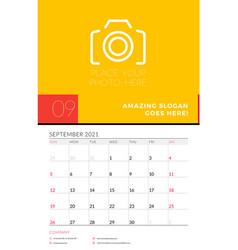 Wall calendar planner template for september 2021 vector