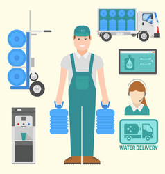 water delivery elements drink bottle vector image
