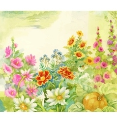 Watercolor summer blooming flowers vector image