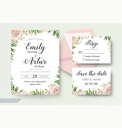 Wedding floral cards templates set with flowers vector