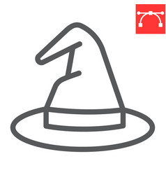 Witch hat line icon halloween and scary wizard vector