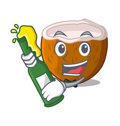 with beer half coconut isolated on the mascot vector image