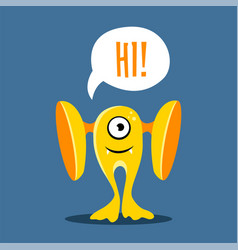 cute card with yellow monster cartoon style vector image vector image