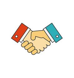 handshake flat line icon vector image