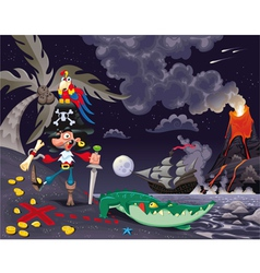 Pirate on the island in the night vector image