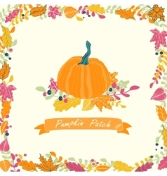 Pumpkin patch card design vector image vector image