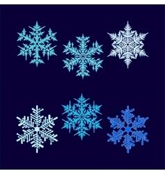 Six beautiful hex-shaped snowflakes vector