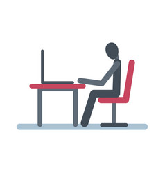 stick figure sits at table with a laptop vector image