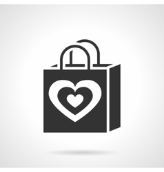 Valentines day shopping bag black icon vector image vector image