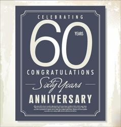 60 years anniversary background vector image