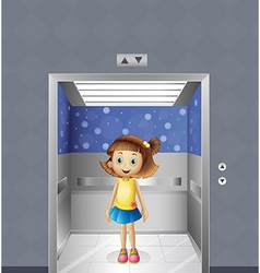 A pretty young girl inside the elevator vector image