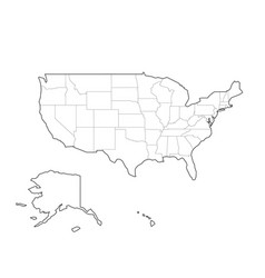 blank black outline map of usa united vector image vector image