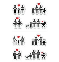 Gay lesbian couples and family children icons vector image vector image