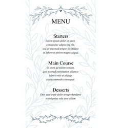 Menu card made of hand drawn branches monochrome vector