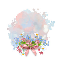 watercolor banner with flowers vector image vector image