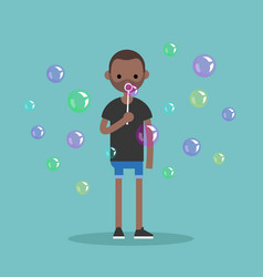 Young black character blowing soap bubbles flat vector