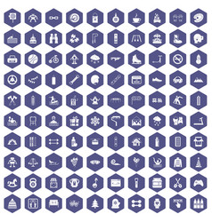 100 children activities icons hexagon purple vector image vector image