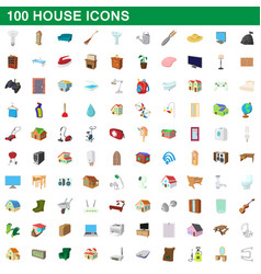 100 house icons set cartoon style vector image