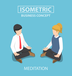 isometric businessman doing yoga in lotus pose vector image vector image