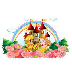 knight and princess in flower garden vector image vector image