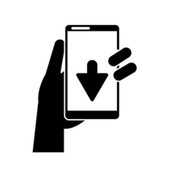 silhouette hand holds smartphone download vector image