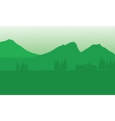 Silhouette of house with mountain background vector image