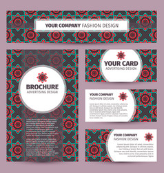 corporate identity design with ethnic pattern vector image vector image