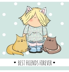 Cute girl with cats doodle vector