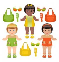 girls dolls vector image vector image