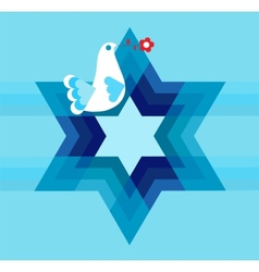 peace pigeon with david star on blue vector image vector image