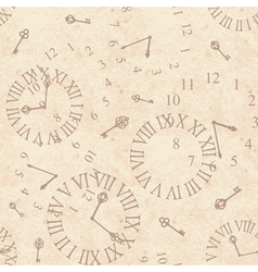 Seamless background ancient clock face on old vector image
