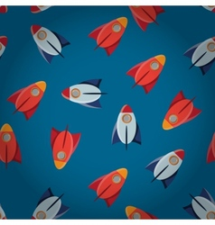 Space toy rocket abstract seamless pattern vector image