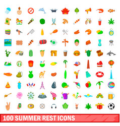 100 summer rest icons set cartoon style vector image