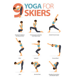 9 yoga poses for skiers concept vector