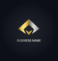 abstract triangle company gold logo vector image