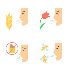 Allergies flat design long shadow color icons set vector