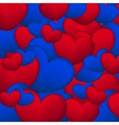 Background of blue and red hearts vector