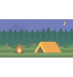 Background of camping site with tent vector image