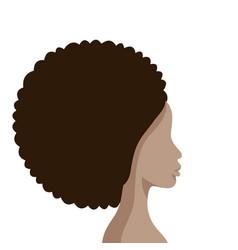 Beautiful african american woman face profile flat vector