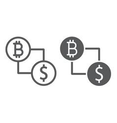 bitcoin vs dollar line and glyph icon finance vector image