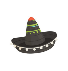 black mexican sombrero hat traditional symbol of vector image