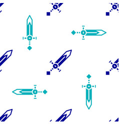Blue medieval sword icon isolated seamless pattern vector