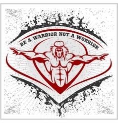 Bodybuilding emblem on white grunge background vector