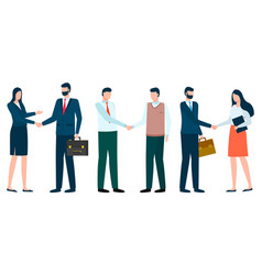 business characters successful meeting handshakes vector image